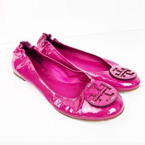 Tory Burch Neon Pink Patent Reva Flats Size 7.5